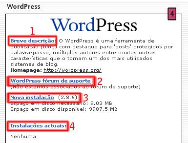 WordPress no Fantastico