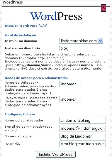 Instalação WordPress Fantastico