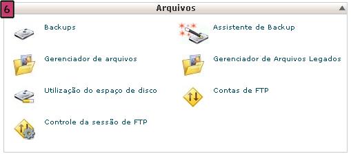 cpanel gerenciador arquivos