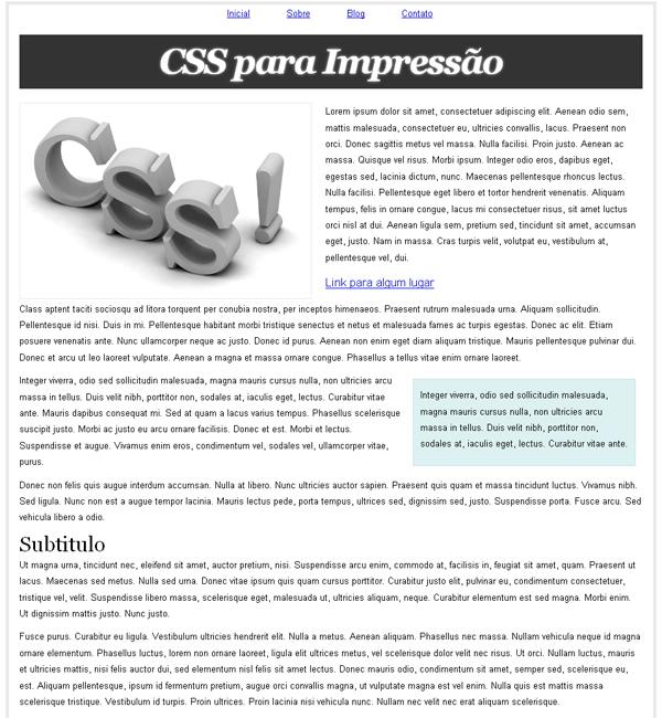 CSS Para Impressão