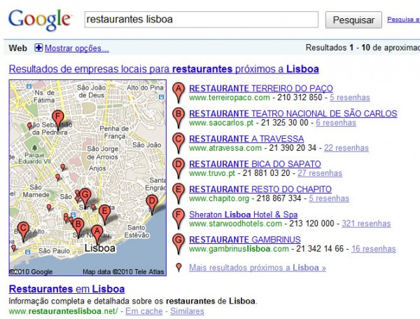 Restaurantes Lisboa No Google Portugal