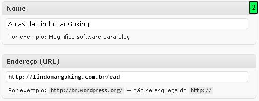 Nome e Endereço (URL)