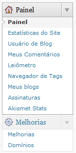 Melhorias no menu do WordPress.com