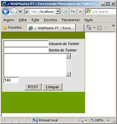 Escrevendo No Twitter Usando O PHP