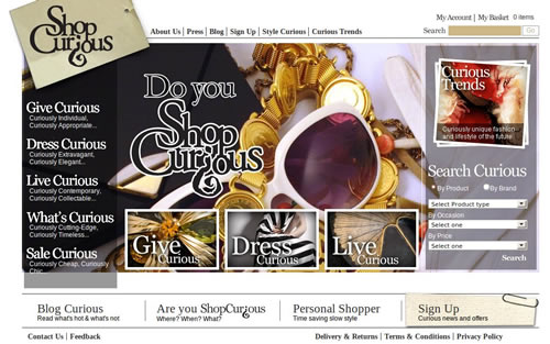 loja online shop curious