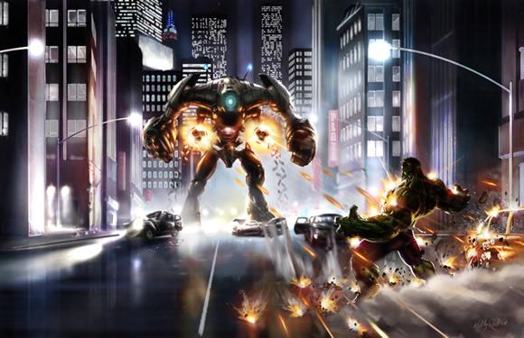 Hulk versus mech by KEGO44