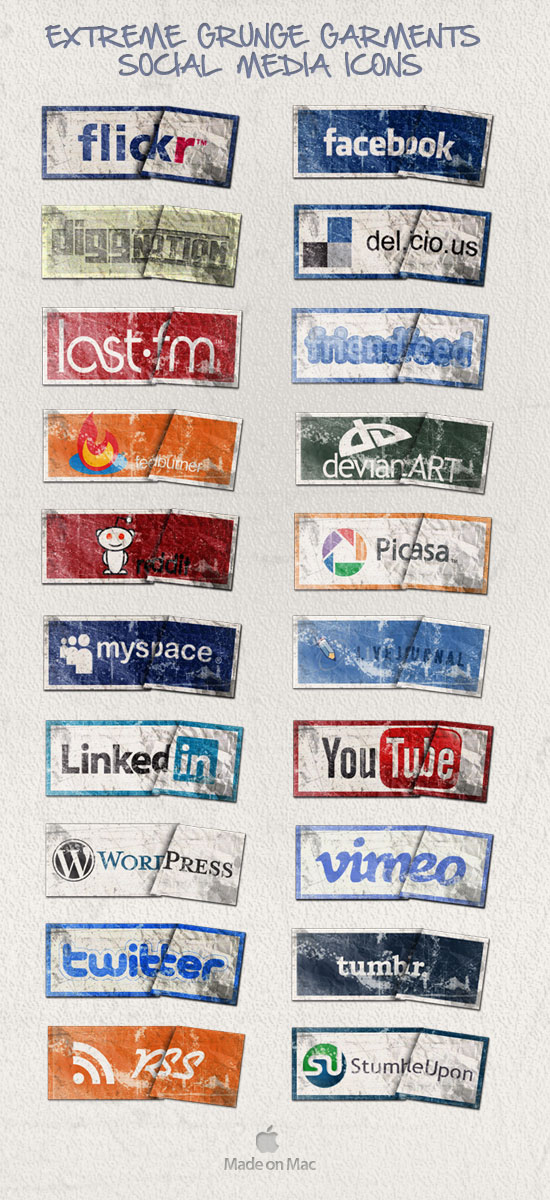 Extreme Grunge Social Media Garments Icons