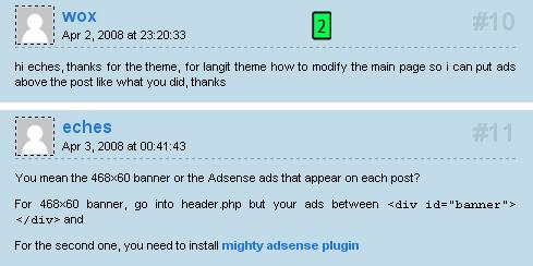 inserir anúncios acima dos posts