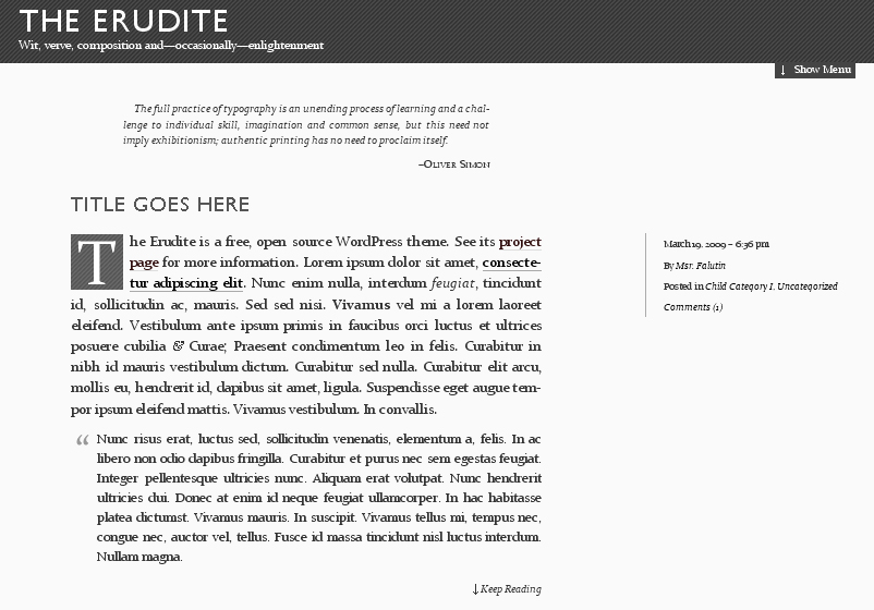 WordPress Theme The Erudite
