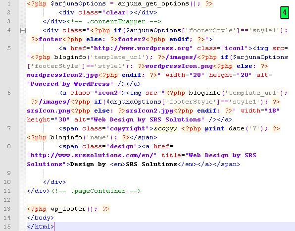 código footer
