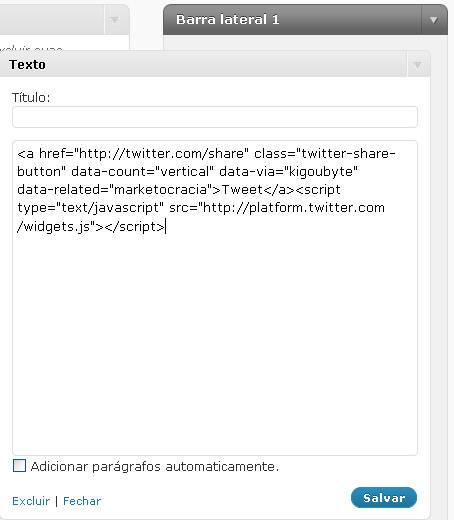 widget Texto