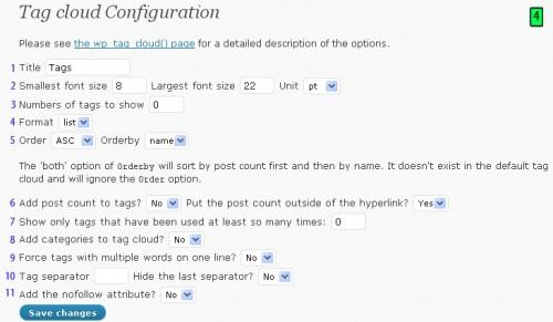 Tag Cloud Configuration