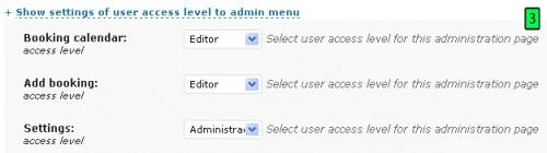 nível de acesso aos menus do plugin