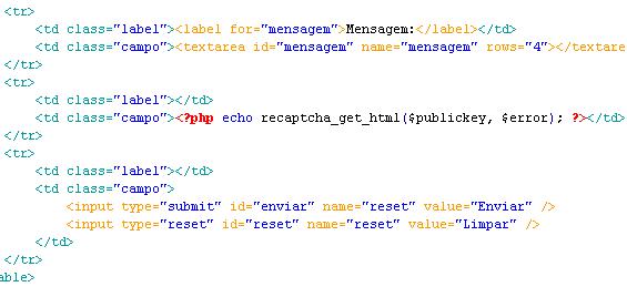 Formulário de Contato - Exibindo o reCAPTCHA