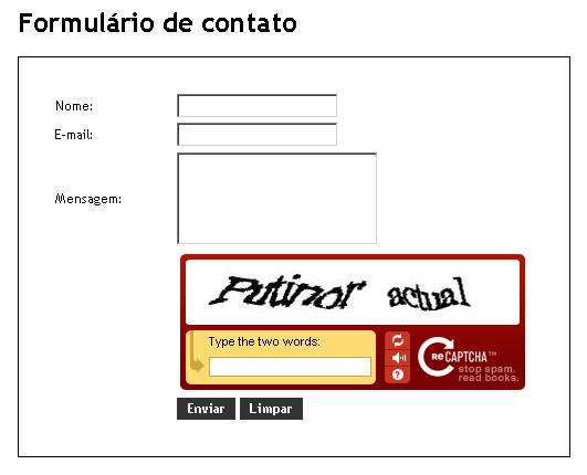 Formulário de Contato - Protótipo do reCAPTCHA