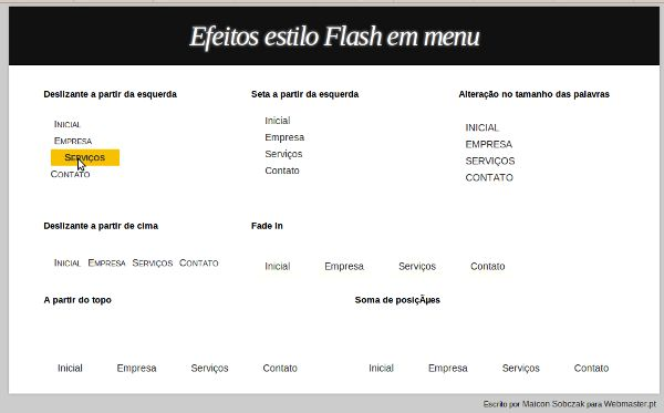 Efeitos Estilo Flash Em Menu Com jQuery