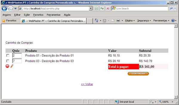 Página carrinho.php