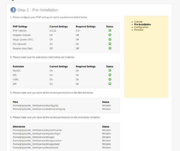 php settings
